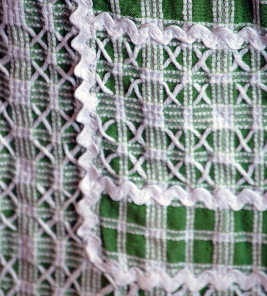 Cross stitch and ric-rac on checkered fabric produced this lovely lacy effect on a thrift store apron.