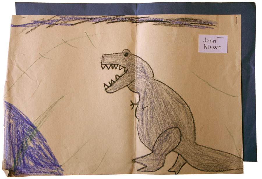 Another drawing from second grade. This one was mounted on a blue piece of craft paper and my name stapled to it from when the teacher displayed it in the classroom.