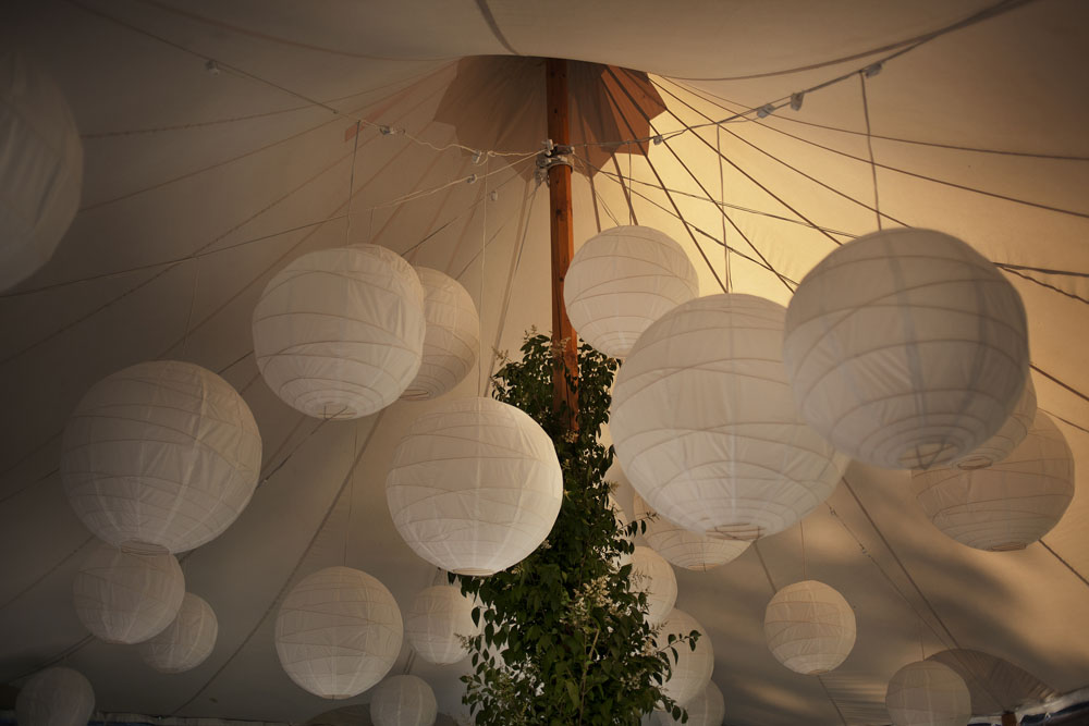 Hanging lights for indoor event décor.