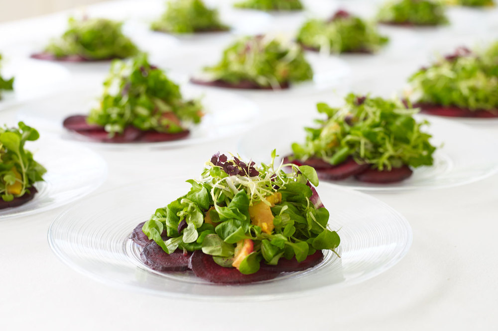 Plated composition salads with a touch of good water farms dark opal basil