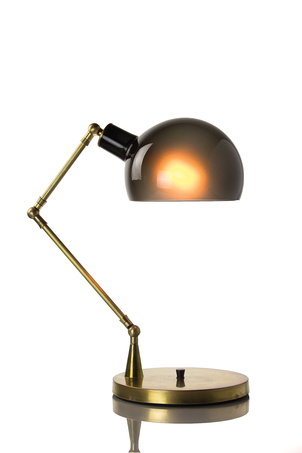 Piano Table Lamp: Grey/Brass