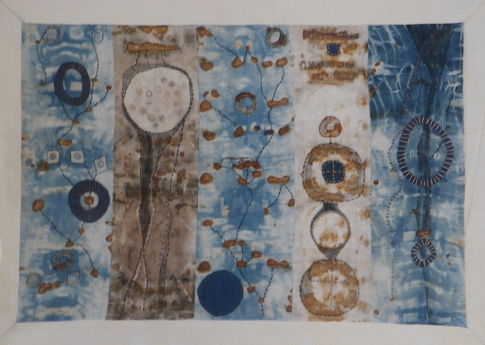 Nature's palette strikes Indigo and rust stain well Happy lines visit