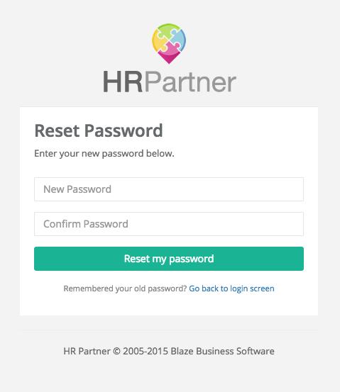 Normal password reset screen.