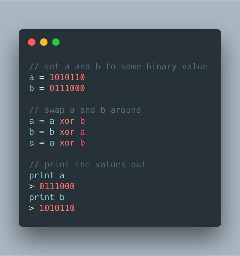 Using XOR to swap values in memory.