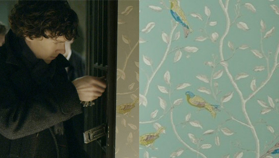 Sherlocks hallway wallpaper- Sanderson Finches