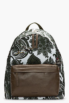 GIVENCHY-Olive Green Leather Trimmed Paisley Print Backpack