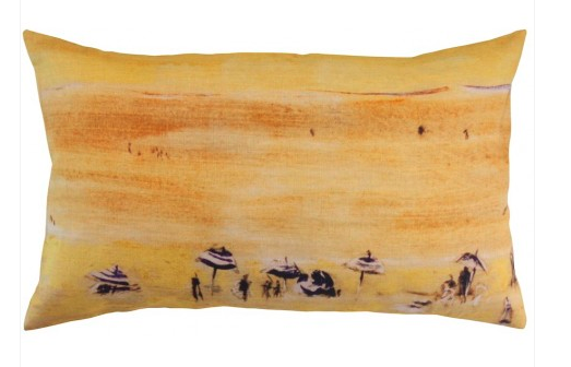 Yellow beach scene cushion