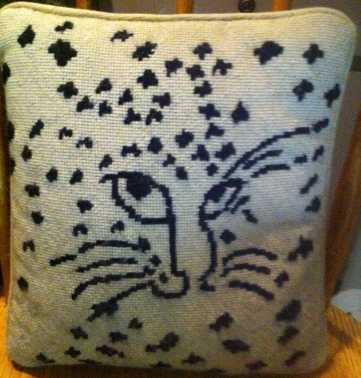 Vintage needle point animal pillow