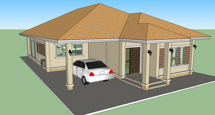 Phen 3 bedroom home design no 2 nkd for Sedie design low cost