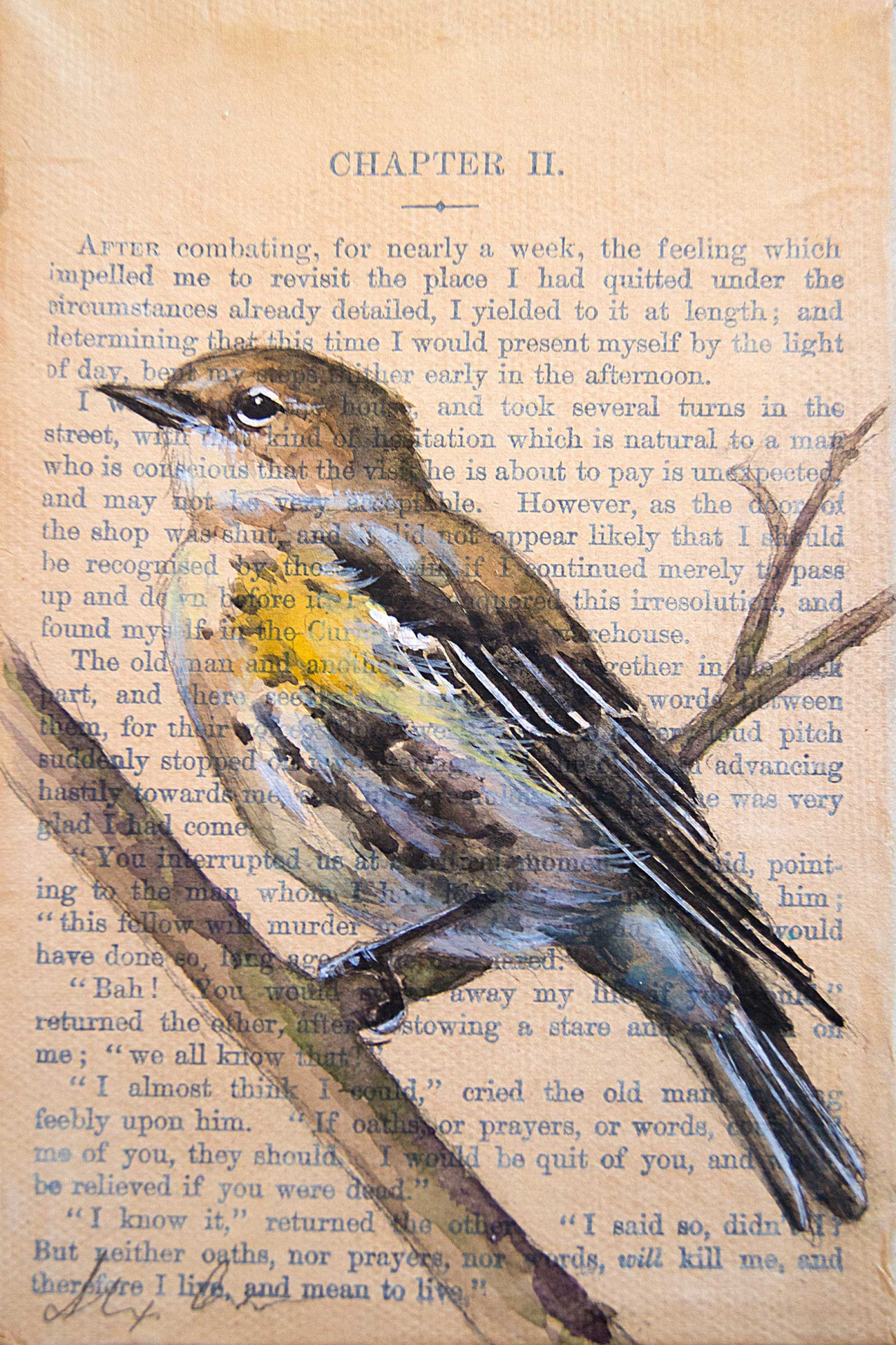 "Yellow-rumped warbler! 4x6"" watercolor, pencil and gesso on antique book paper/canvas.  She is part of a collection I painted of 25 of the most common avian species in Central Ohio."