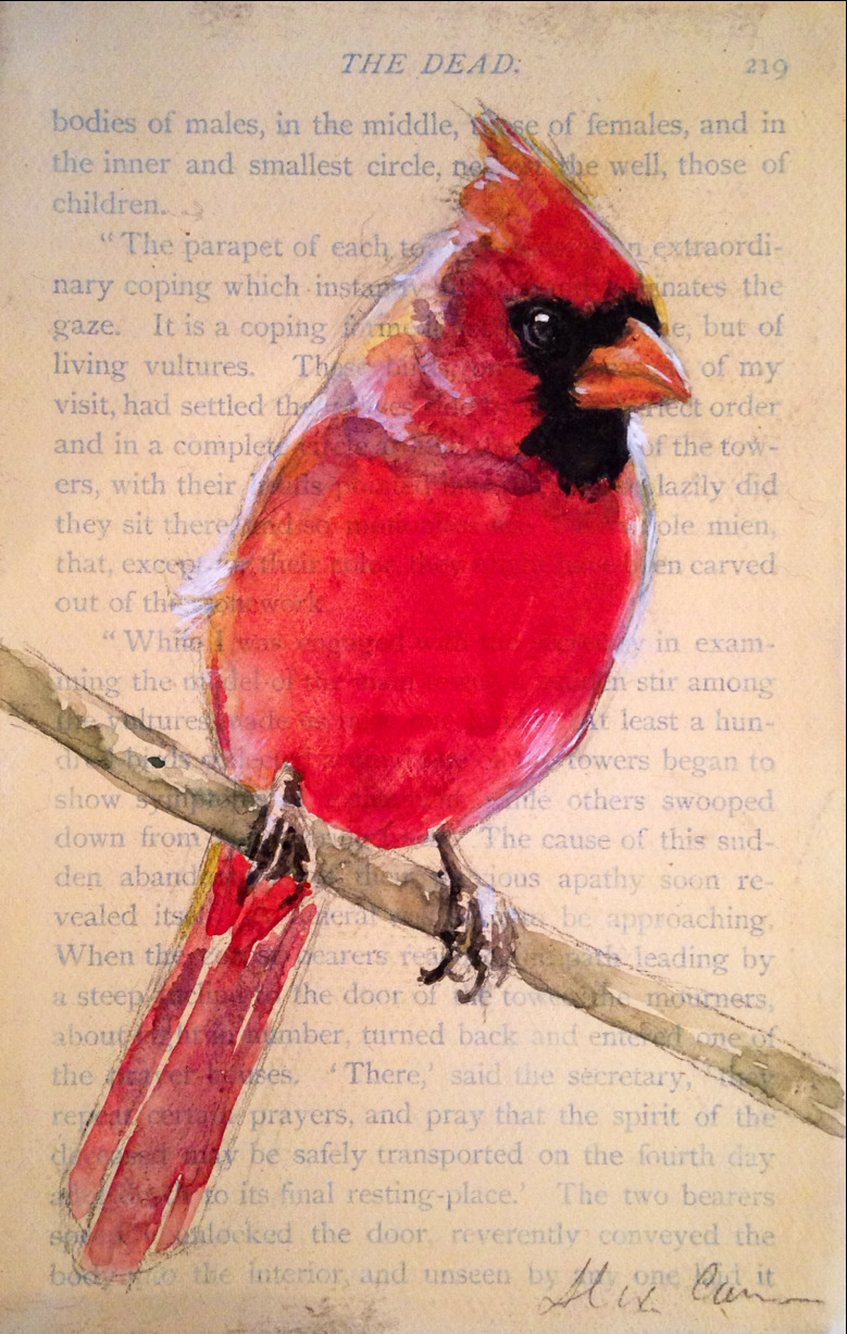 "4x6"" watercolor on paper/ on canvas. Male northern cardinal."