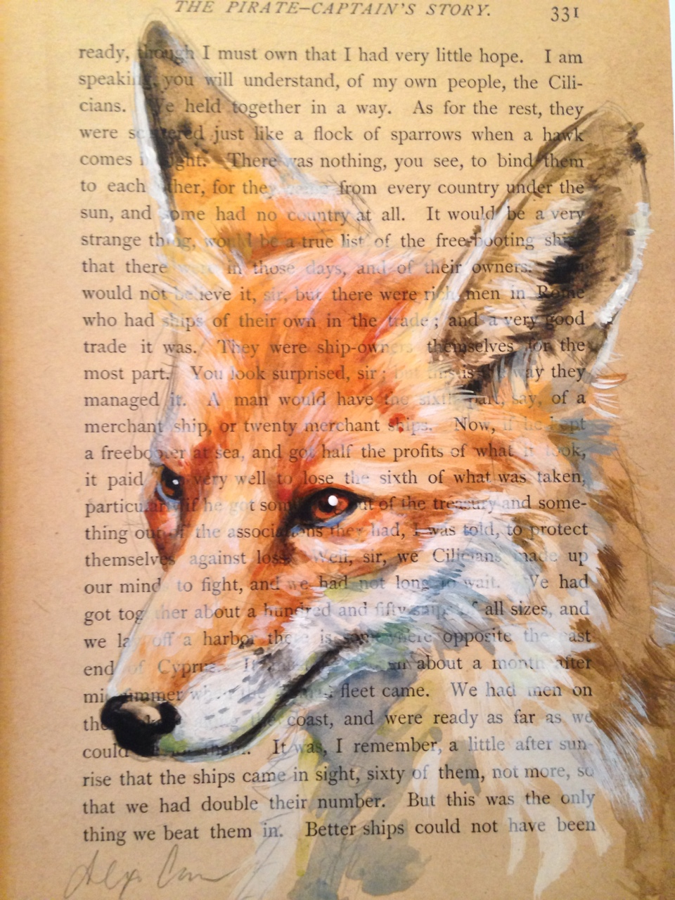 "Not the best photo of this, but here is an acrylic on antique paper, ~5x7"". This was actually my first time painting a fox! I would argue that there a few creatures as beautiful as a red fox.     Note: Did you know that foxes smell similar to skunks? It's not a commonly known fact, I believe, and definitely not something I knew until I started volunteering in wildlife rehab."