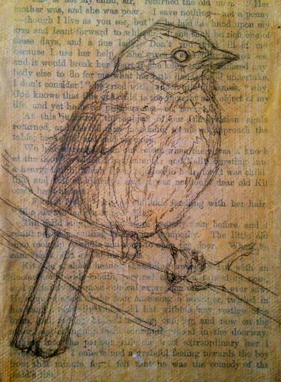 "Beginnings of a song sparrow painting. I'm quite pleased with how the drawing came out. I gessoed an antique book page onto a teeny 4x6"" canvas."