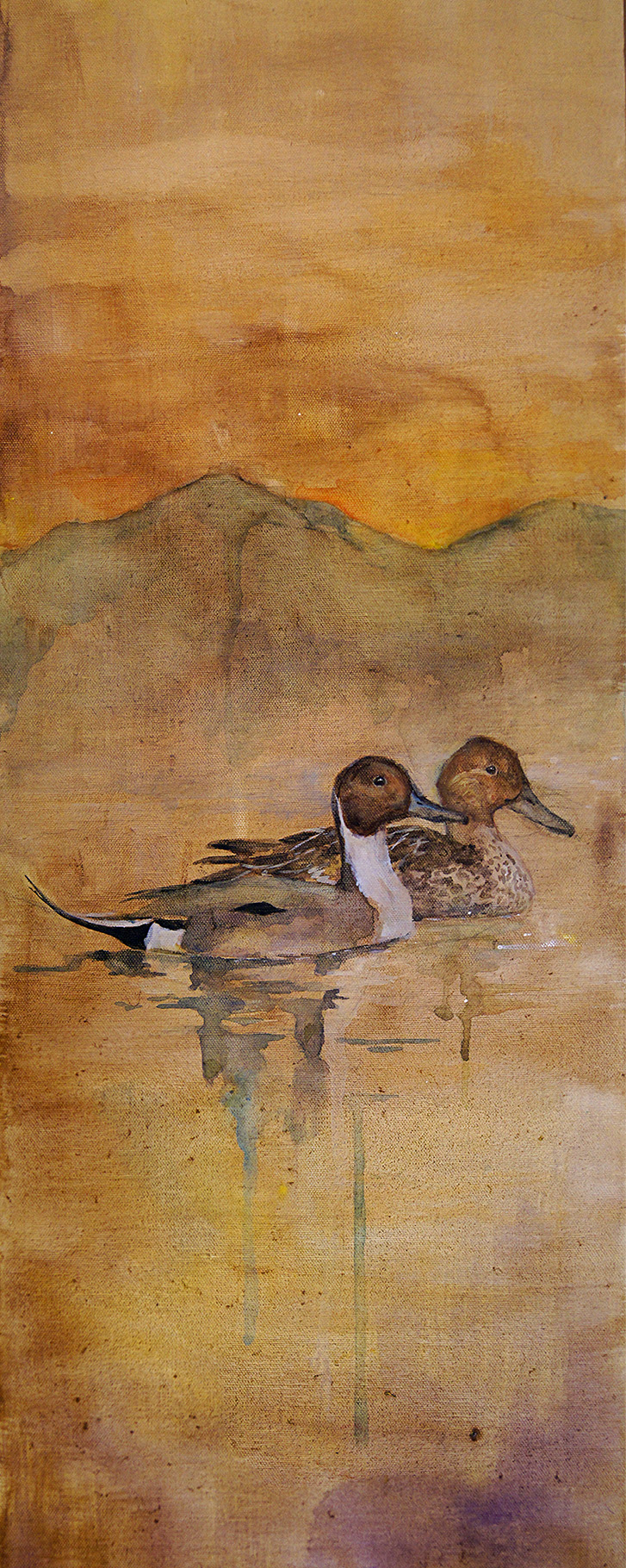 Northern Pintails. 10x30 acrylic on canvas.