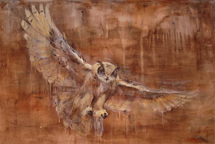 "Great Horned Owl acrylic painting. I think its around 30x40"". It's big, anyway. I had so much fun painting this! Hopefully someone will feel inspired to buy this at the art sale so I can pay for the wedding dress I just bought! :)"