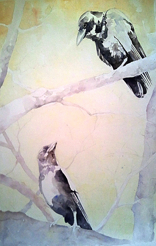Further progress on my crow watercolor.