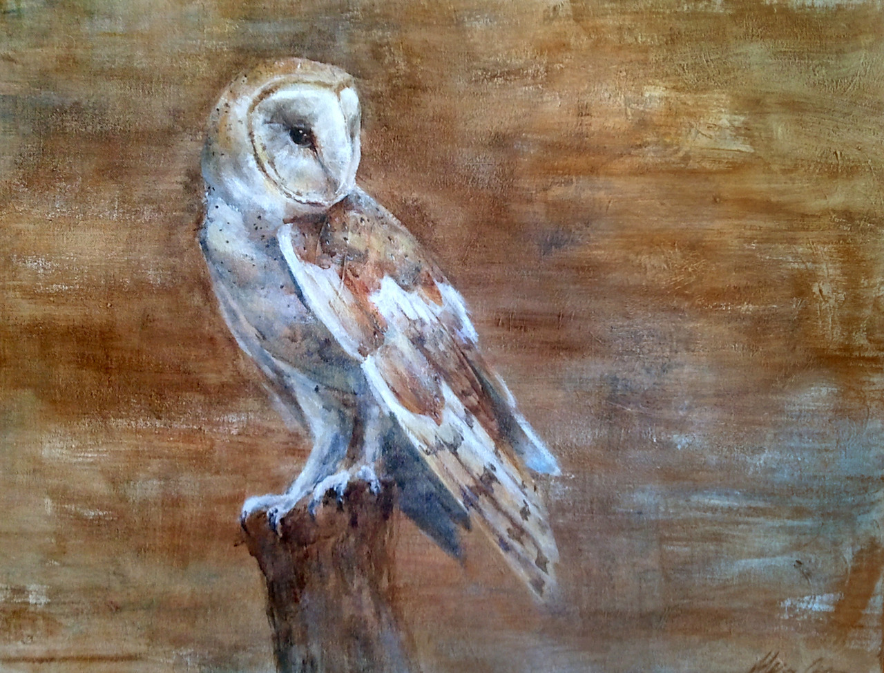 Barn owls are so beautiful, aren't they? Another painting for the art sale. 16x20 acrylic on canvas. Paint paint paint! So busy painting!
