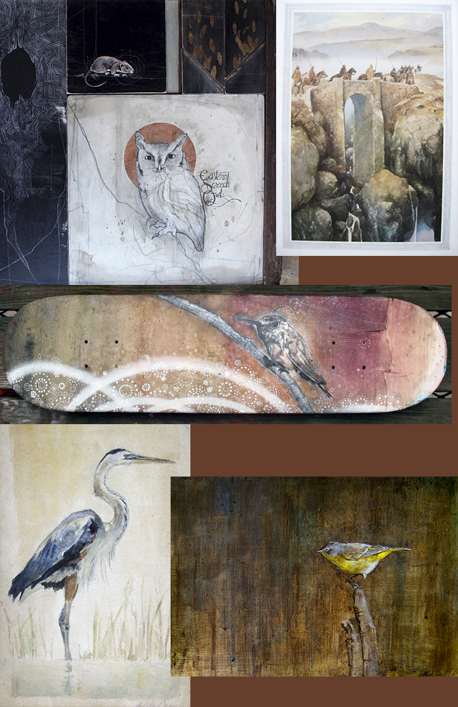 Moodboard for my bird painting. David Hale, Alan Lee, and two of my own pieces.