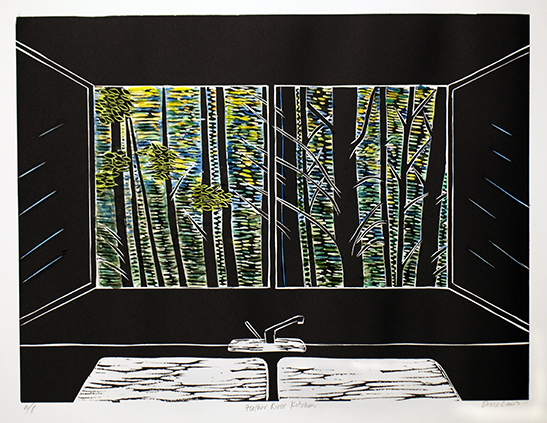 """""""Feather River Kitchen""""  Hand colored linocut print  12"""" x 16""""  2010"""