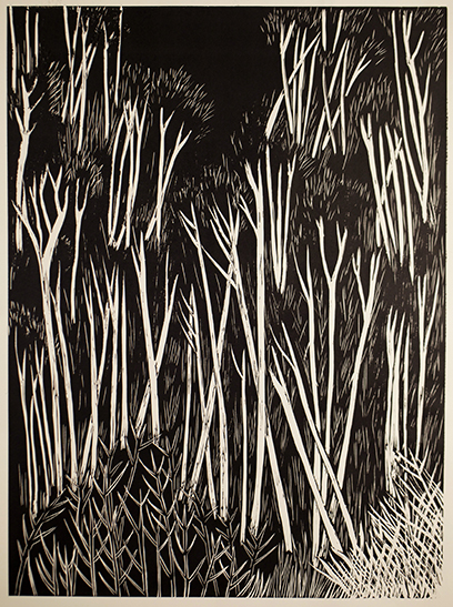 """Crossed Trees Hillside""  Linocut print  24"" x 18""  2011"