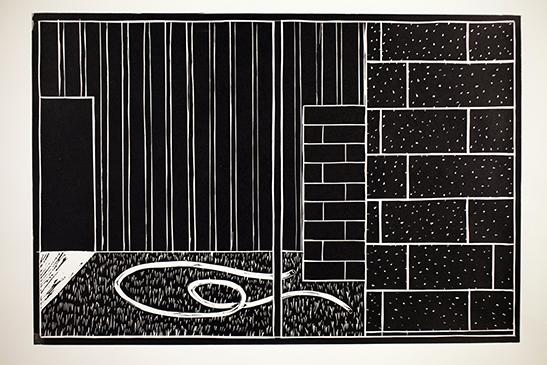"""Nebraska Window""  Linocut Print  12"" x 18""  2011"
