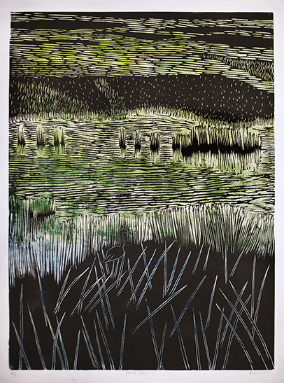 """Marsh Scene""  Color linocut  24"" x 18""  2010"