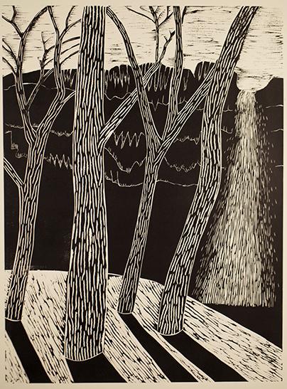 """Trees and Waterfall 2""  Linocut print  24""x 18""  2012"