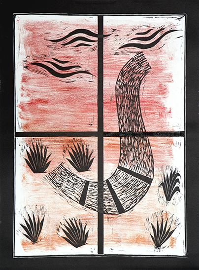 """Window and Path""  Unique Linocut Print  30""x 22""  2010"