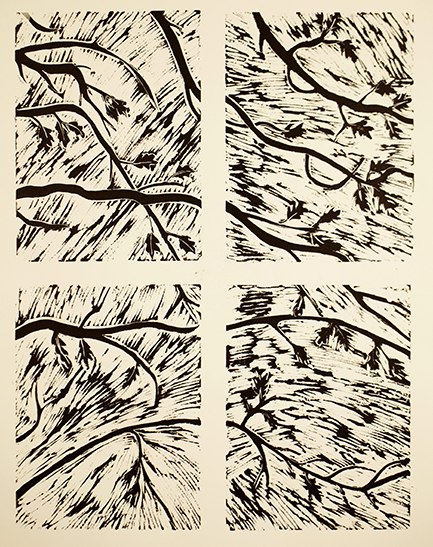 """""""Window with Branches""""  Linocut  4 panels, each 12"""" x 10""""  2012"""