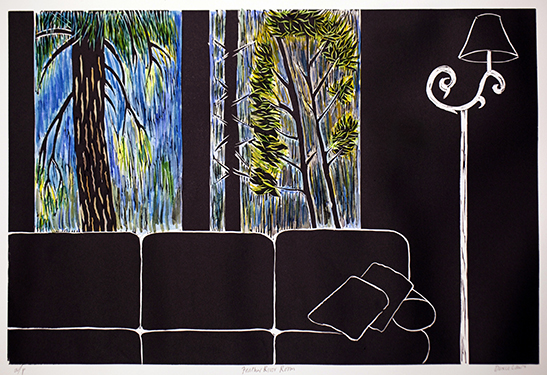 """Window with Couch, Feather River""  Hand colored linocut print  12"" x 18""  2010"