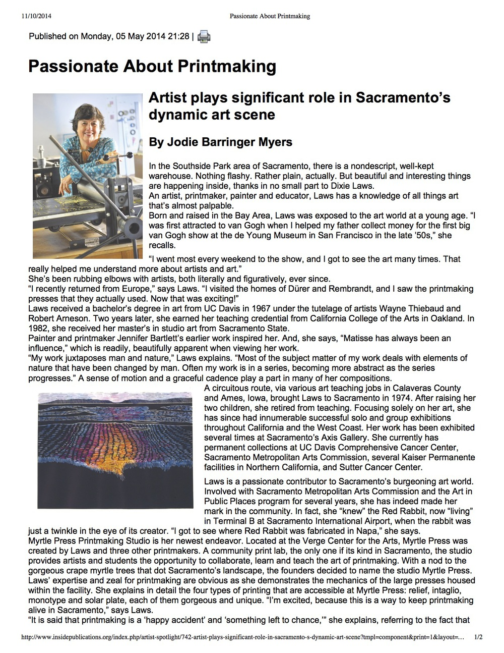 Article About Dixie's art published in Inside Sacramento, May 2014