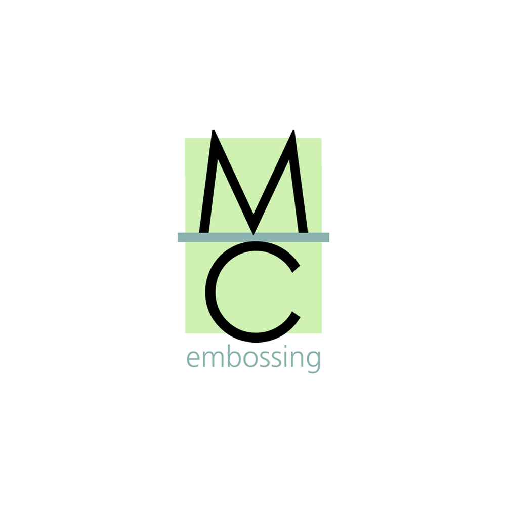 MC Embossing logo was designed to be embossed and foil stamped with three colors
