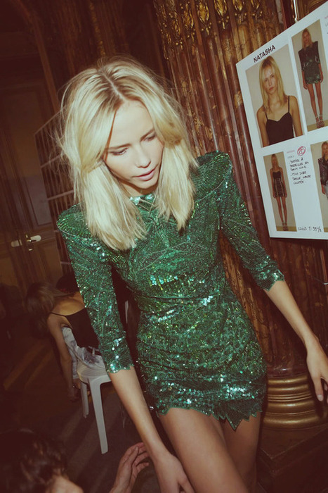 amazing-natasha-poly-in-emerald-green-balmain-mini-dress.jpg