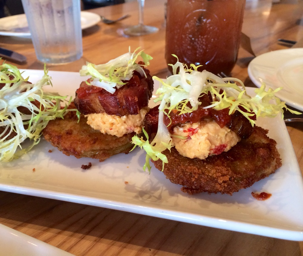 Fried Green Tomato BLT- pork belly, greens, fried green tomatoes, tomato jam, and house-made pimento cheese