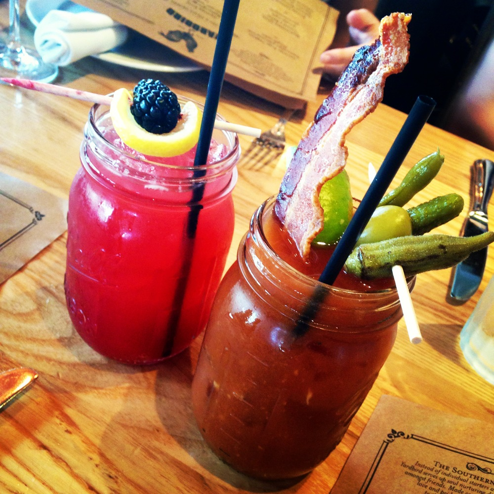 We started off the meal with cocktails that perfectly matched our tastebuds (and personalities! haha) Sweet Blackberry Bourbon Lemonade and a Spicy Bloody Mary with bacon on top!