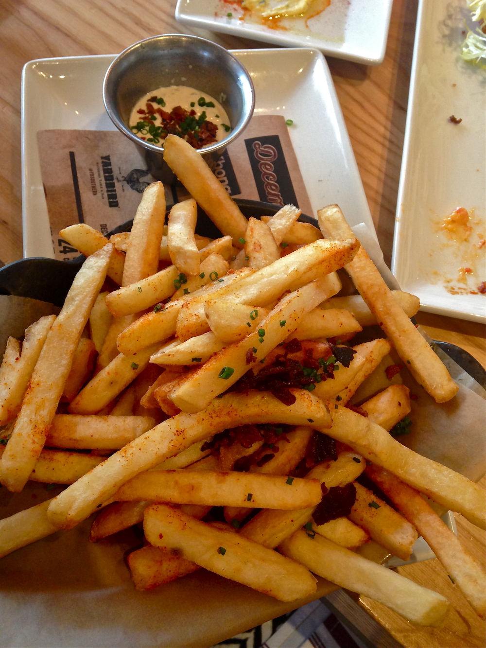 "House-Cut Fries-buttermilk dipping sauce, ""bacon salt"""