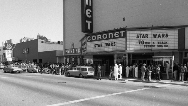 Star Wars opening weekend at the Coronet (Geary and Arguello, RIP), 1977. Great photos dug up by Peter Hartlaub  over at SFGate .