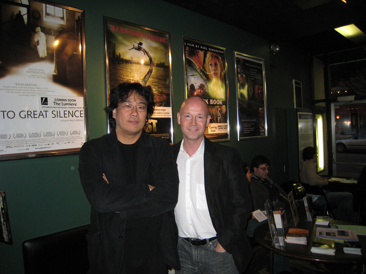 Happy Birthday, Bong Joon-Ho! Seen here with former ED Graham Leggat in 2007 at the Clay Theater, in between screenings of his films Memories of Murder (SFIFF47) and Barking Dogs Never Bite. Photo by Cindy Lang