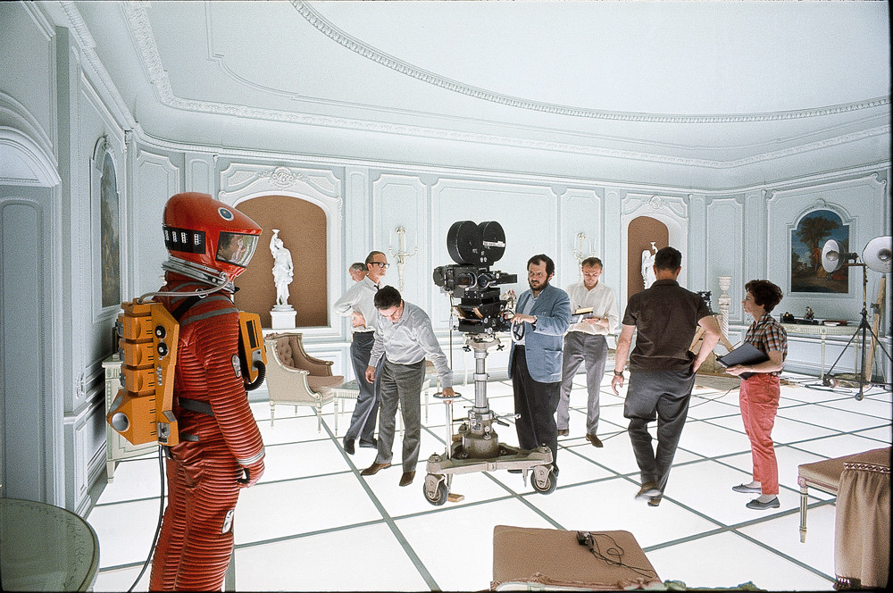 "Playing on the big screen tonight at the Castro! celluloidshadows: Director Stanley Kubrick films a scene with actor Keir Dullea on the set of the 1968 film ""2001: A Space Odyssey"". Click the pic for a featurette on the making of the movie."