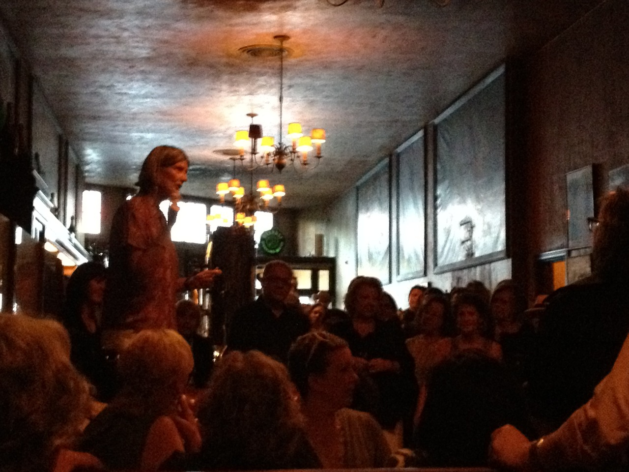 Hilary Hart speaks to a packed room at Tosca last night, gathered to wish her farewell from SFFS. We'll miss you, Hilary. Don't be a stranger.