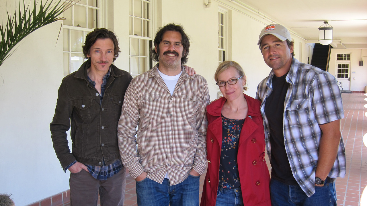 Kyle Chandler, John Hawkes and Amy Ryan visit the SFFS offices for a script workshop with writer/director Mario de la Vega. Photo: Hilary Hart