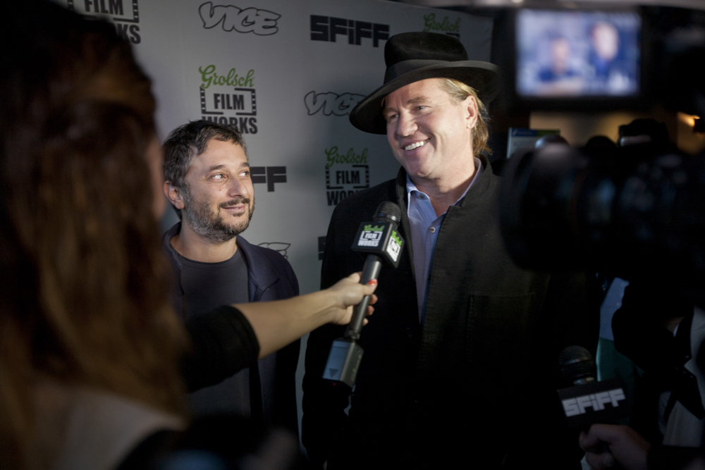 "One of my favorite red carpet moments was early in the Festival, when the folks from  The Fourth Dimension  came through for their world premiere.  Here's Harmony Korine and Val Kilmer, whose segment ""The Lotus Community Workshop"" kinda blew my mind.  Photo by Tommy Lau."