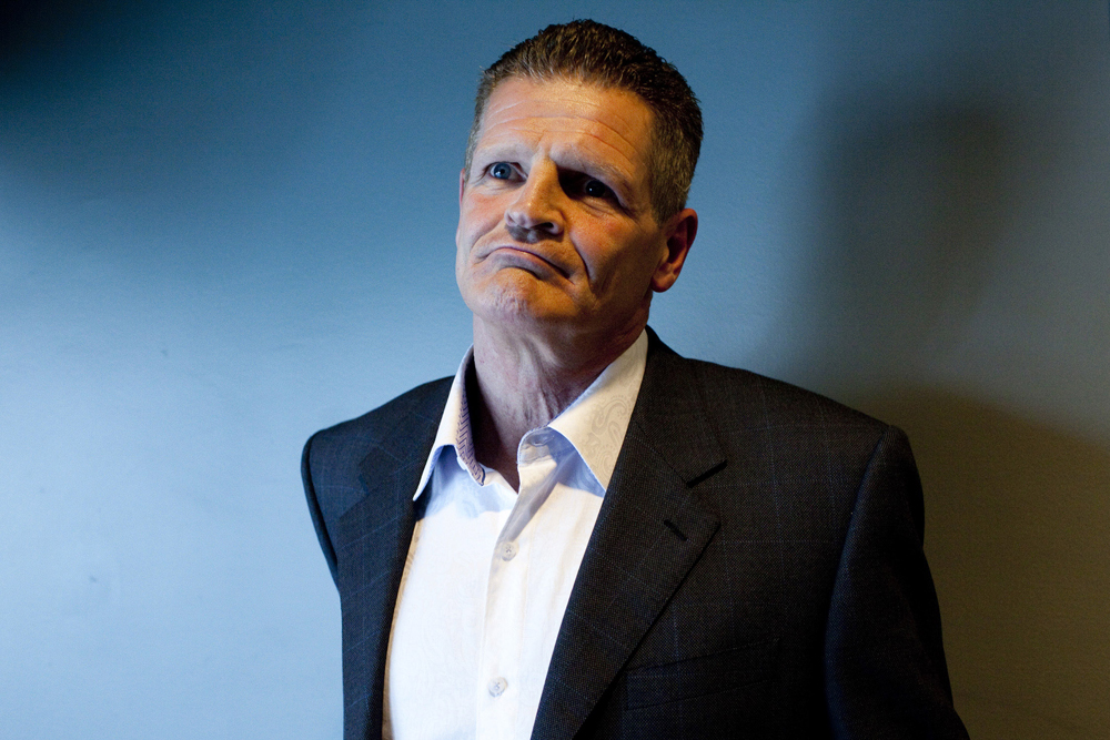 "My favorite portrait of the year has to be this one of Chris Nilan, subject of Alex Gibney's doc  The Last Gladiators , about violence in ice hockey and the role of ""the enforcer"" on the team.  This guy got famous beating by dudes bloody and never losing a fight, and doing so WHILE WEARING ICE SKATES.  Bad ass.  Photo by Pamela Gentile."