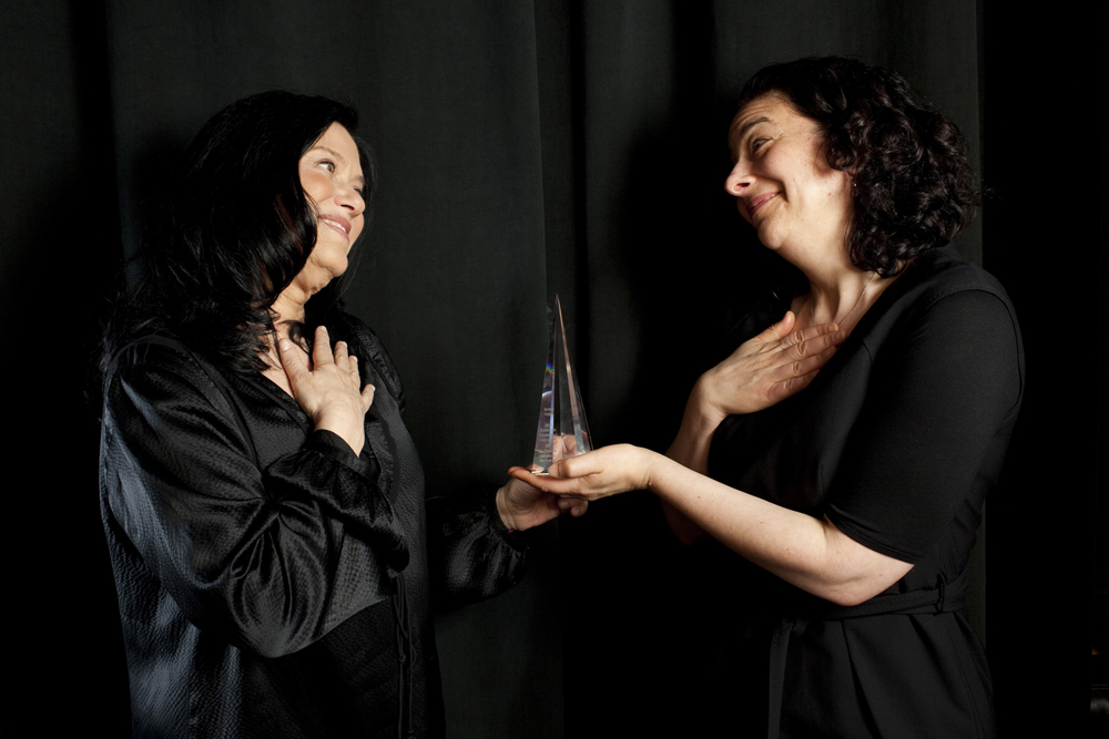 Barbara Kopple, who was selected for this year's Persistence of Vision Award, shares a moment of mutual adoration with our Rachel Rosen.  Photo by Pamela Gentile.