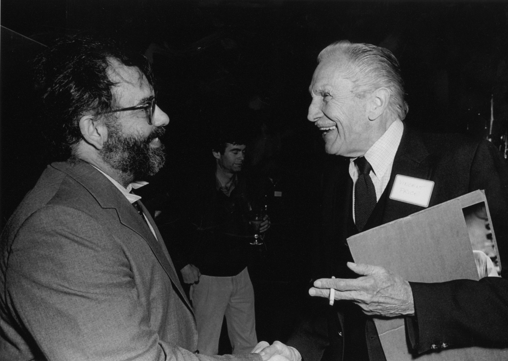 Francis Ford Coppola shakes hands with Vincent Price at the 28th San Francisco International Film Festival, 1985. Photo by Bruce Forrester.