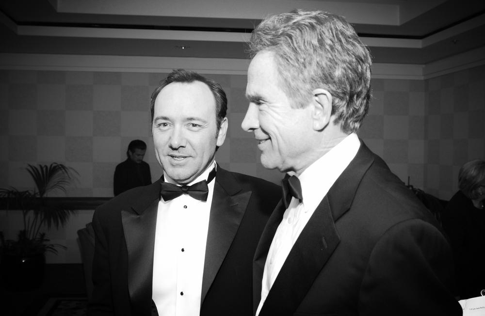Peter J. Owens Award recipient Kevin Spacey and Akira Kurosawa Award recipient Warren Beatty at the 45th SFIFF Awards Night