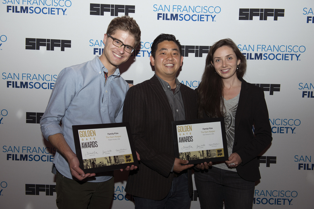Director Robert Kondo, director Dice Tsutsumi and producer Megan Bartel of THE DAM KEEPER, winner of the Golden Gate Award for a Family Film