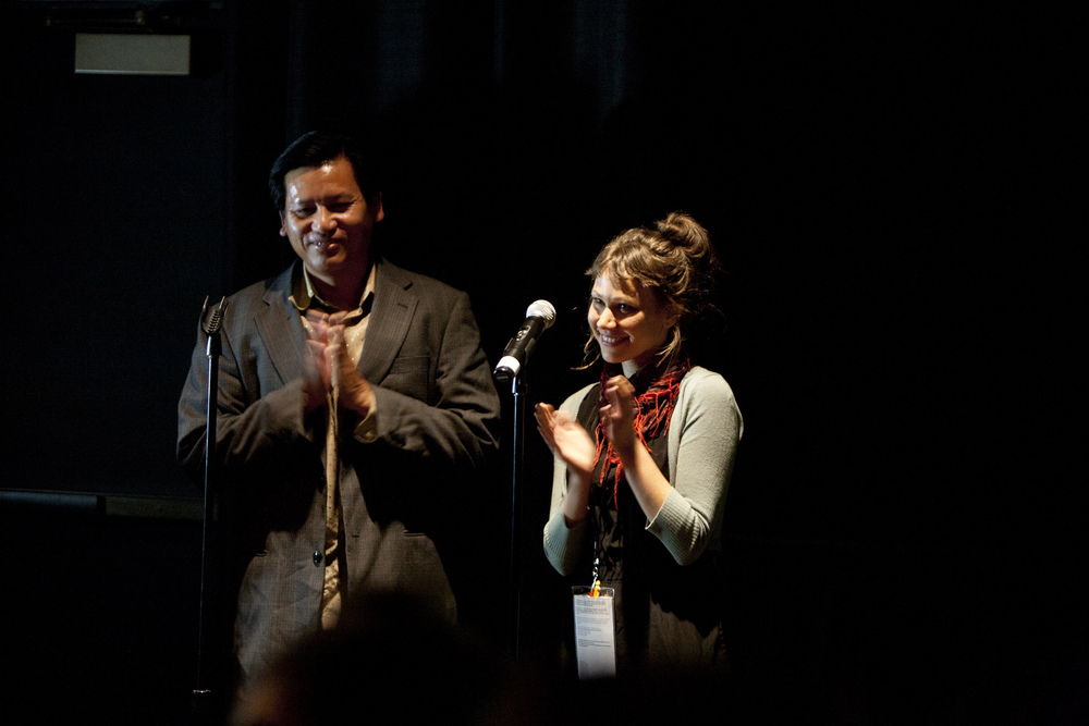 Subject Kouy Loch and Director Sara Dosa on stage for the premiere of THE LAST SEASON at the 57th San Francisco International Film Festival  Photo: Tommy Lau