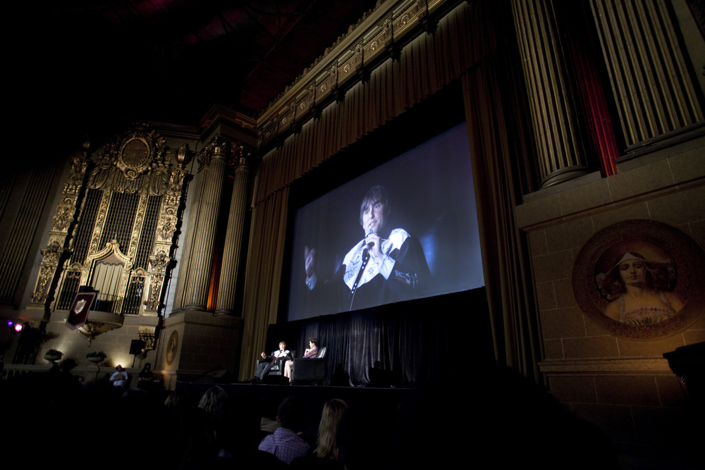 Founder's Directing Award recipient Richard Linklater and Parker Posey on stage with a screening of BOYHOOD