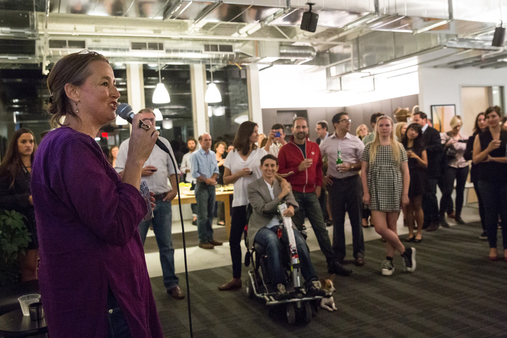 Filmmaker360 Director Michele Turnere-Salleo speaks to colleagues, friends, supporters, and FilmHouse residents on the occasion of the space's opening. Photo by Erin Lubin.